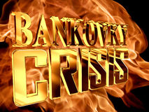 Gold text bankovky crisis on fire background. 3d rendering. Gold text bankovky crisis on fire background Royalty Free Stock Photo
