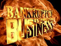 Gold text bankruptcy business on fire background. 3d rendering. Gold text bankruptcy business on fire background Royalty Free Stock Image