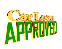 Gold text car loan approved on white background. 3d rendering. Gold text car loan approved on white background Royalty Free Stock Photos