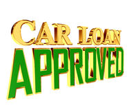 Gold text car loan approved on white background. 3d rendering. Gold text car loan approved on white background Stock Image