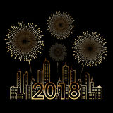 Gold 2018 text on Cityscape Building and firework celebration line art vector design Stock Photography
