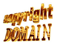 Gold text copyright domain on a white background Stock Photos
