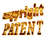Gold text copyright patent on a white background Royalty Free Stock Photography