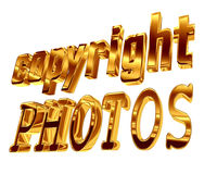 Gold text copyright photos on a white background Royalty Free Stock Photo