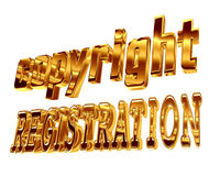 Gold text copyright registration on a white background Stock Photos