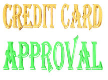 Gold text credit card approval on white background Stock Photos