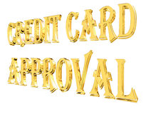 Gold text credit card approval on white background Stock Photo