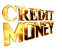 Gold text credit money on a white background Stock Photos