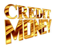 Gold text credit money on a white background Stock Photo