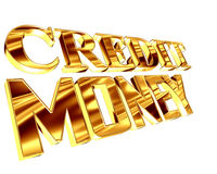 Gold text credit money on a white background. 3d illustration. Gold text credit money on a white background Royalty Free Stock Photos