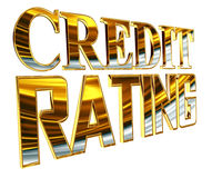 Gold text credit rating on a white background Stock Photography