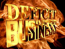 Gold text deficit business on fire background. 3d rendering. Gold text deficit business on fire background Stock Image