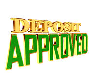 Gold text deposit approved on white background. 3d rendering. Gold text deposit approved on white background Stock Images