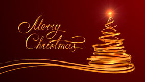 Gold Text Design Of Merry Christmas And Christmas. Tree From Gold Tapes Over Red Background. 3D Scene Royalty Free Stock Images