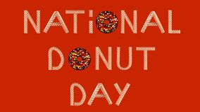 Gold text donut day on red background 3D illustration stock illustration