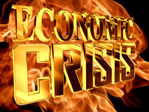 Gold text economic crisis on fire background. 3d rendering. Gold text economic crisis on fire background Stock Image