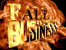 Gold text fall business on fire background. 3d rendering. Gold text fall business on fire background Stock Images