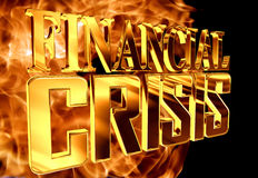 Gold text financial crisis on fire background. 3d rendering. Gold text financial crisis on fire background Royalty Free Stock Photo