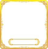 Gold Text frame floral. Abstract gold text frame floral on red background and gold block Royalty Free Stock Photography