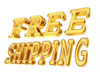 Gold text free shipping on a white background Stock Photo