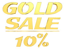 Gold text gold sale with the amount of discount on white background. 3d illustration. Gold text gold sale with the amount of discount on white background Stock Photography