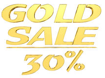 Gold text gold sale with the amount of discount on white background Stock Photography