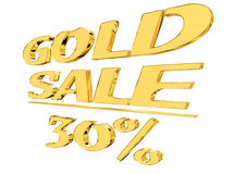 Gold text gold sale with the amount of discount on white background Royalty Free Stock Photos