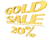 Gold text gold sale with the amount of discount on white background. 3d illustration. Gold text gold sale with the amount of discount on white background stock illustration