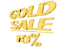 Gold text gold sale with the amount of discount on white background. 3d illustration. Gold text gold sale with the amount of discount on white background Royalty Free Stock Photography
