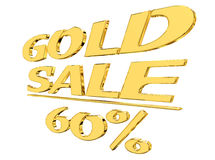 Gold text gold sale with the amount of discount on white background Stock Image