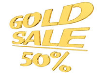 Gold text gold sale with the amount of discount on white background Stock Photos