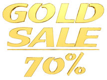 Gold text gold sale with the amount of discount on white background Stock Images