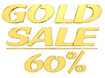 Gold text gold sale with the amount of discount on white background. 3d illustration. Gold text gold sale with the amount of discount on white background Royalty Free Stock Photos