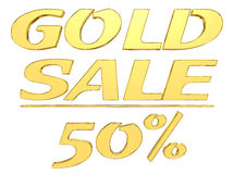 Gold text gold sale with the amount of discount on white background Royalty Free Stock Photography