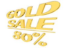 Gold text gold sale with the amount of discount on white background. 3d illustration. Gold text gold sale with the amount of discount on white background Royalty Free Stock Image