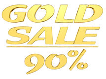 Gold text gold sale with the amount of discount on white background. 3d illustration. Gold text gold sale with the amount of discount on white background royalty free illustration