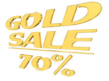 Gold text gold sale with the amount of discount on white background. 3d illustration. Gold text gold sale with the amount of discount on white background Stock Images
