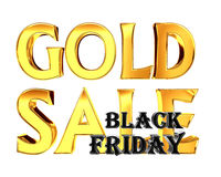 Gold text gold sale black friday on white background Royalty Free Stock Photography