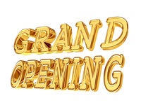 Gold text grand opening on white background Royalty Free Stock Image