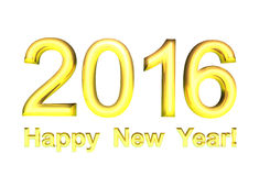 Gold text - Happy New Year 2016, isolated. On white background Stock Images