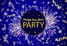 Gold text Happy New Year party, ribbons, firework on the shiny b. Ackground. Vector illustration Stock Photos