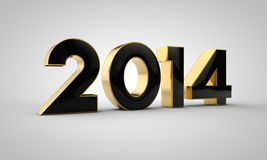 2014 gold text. Inscription 2014 gold color on white stock illustration