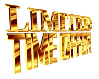 Gold text for a limited time on a white background. 3d illustration. Gold text for a limited time on a white background Royalty Free Stock Photo