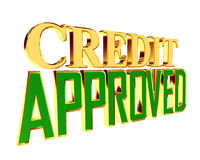 Gold text loan approved on white background. 3d rendering. Gold text loan approved on white background Stock Photos