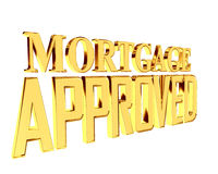 Gold text mortgage approved on white background. 3d rendering. Gold text mortgage approved on white background Royalty Free Stock Images