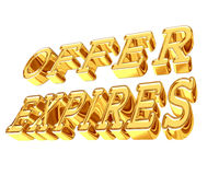 Gold text of the offer period expires on a white background Stock Photo