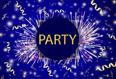 Gold text Party, ribbons, firework on the shiny background. Vector illustration Royalty Free Stock Photo
