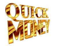 Gold text quick money on a white background. 3d illustration. Gold text quick money on a white background Royalty Free Stock Photos