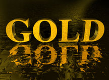 Gold text and reflection Stock Photo