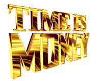 Gold text time is money on a white background. 3d illustration. Gold text time is money on a white background Royalty Free Stock Photos